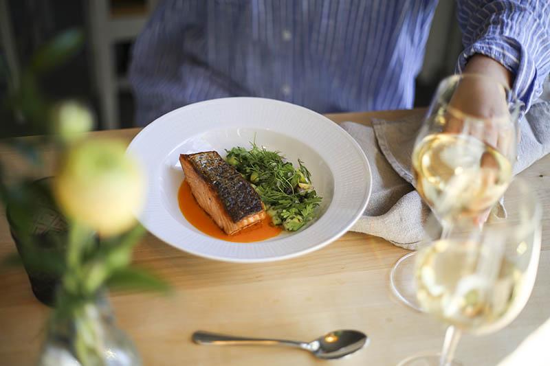 Enjoying a salmon dish in Hotel Hyppeis